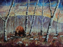Fall Birches, #14008, $1150, Acrylic, 18x24