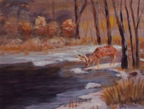 Golden Sundet on the Pond, #17022, $250, Acrylic, 8x10