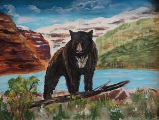 Blackie at Lake Louise, #19015, Acrylic, 9x12