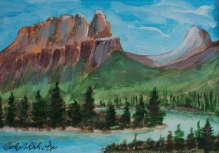 Castle Mountain, #19014, $80, Acrylic, 5x6