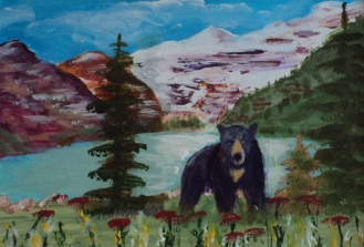 Lake Louise with Visitor, #19012, $75, Acrylic, 4x6