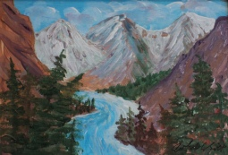Million $ View, Banff Springs Fairmont, #19016, $125, Acrylic, 5x7
