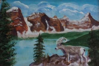 Moraine Lake, #19013, $75, Acrylic, 4x6