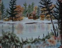 Wilderness Pond, #19024, $250, Acrylic, 8x10