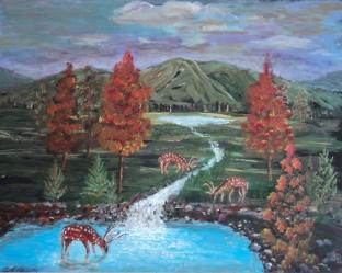 Autumn Grazing, #19022, $750, Acrylic, 16x20