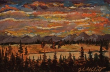Sunset, #19032, $250, Acrylic, 7x11