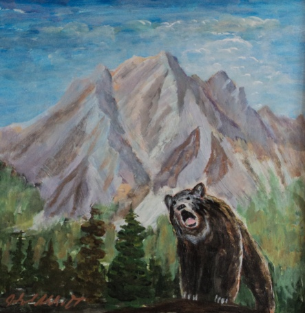 Grizzly at Canmore, #20012, $425, Acrylic, 12x12
