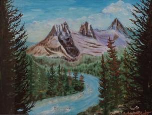 Window into the 3 Sisters, #20014, $750, Acrylic, 14x18